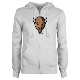 ENZA Ladies White Fleece Full Zip Hoodie-Mascot Head