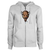 ENZA Ladies White Fleece Full Zip Hoodie-Mascot Head