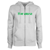 ENZA Ladies White Fleece Full Zip Hoodie-The Herd