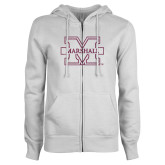 ENZA Ladies White Fleece Full Zip Hoodie-M-Marshall Glitter