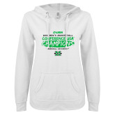 ENZA Ladies White V Notch Raw Edge Fleece Hoodie-2018 Mens Basketball Champions - Brush