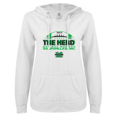 ENZA Ladies White V Notch Raw Edge Fleece Hoodie-2018 Gasparilla Bowl