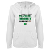 ENZA Ladies White V Notch Raw Edge Fleece Hoodie-Gasparilla Bowl 2018