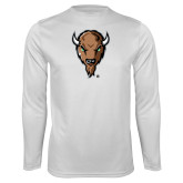 Performance White Longsleeve Shirt-Mascot Head