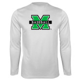 Performance White Longsleeve Shirt-Baseball