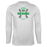 Performance White Longsleeve Shirt-Baseball Ball Design