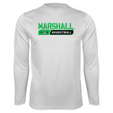 Performance White Longsleeve Shirt-Basketball Bar Design