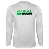 Syntrel Performance White Longsleeve Shirt-Basketball Bar Design