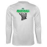 Performance White Longsleeve Shirt-Basketball Net Design