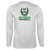 Performance White Longsleeve Shirt-Football Helmet Design
