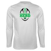Syntrel Performance White Longsleeve Shirt-Football Vertical Design