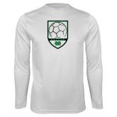 Syntrel Performance White Longsleeve Shirt-Soccer Shield Design