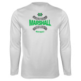 Performance White Longsleeve Shirt-Softball Ball Design