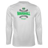 Syntrel Performance White Longsleeve Shirt-Softball Ball Design