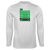 Performance White Longsleeve Shirt-Tennis Stacked Design