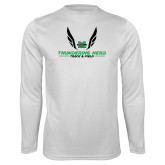 Performance White Longsleeve Shirt-Track and Field Wings Design