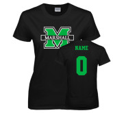 Ladies Black T Shirt-M Marshall, Custom Tee w/ Name and #