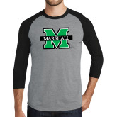 Grey/Black Tri Blend Baseball Raglan-M Marshall