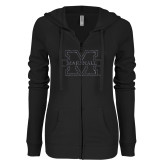 ENZA Ladies Black Light Weight Fleece Full Zip Hoodie-M-Marshall Glitter