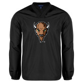 V Neck Black Raglan Windshirt-Mascot Head