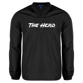 V Neck Black Raglan Windshirt-The Herd