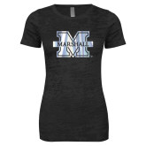 Next Level Ladies Junior Fit Black Burnout Tee-M Marshall