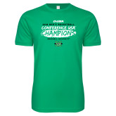 Next Level SoftStyle Kelly Green T Shirt-2018 Mens Basketball Champions - Brush