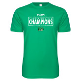Next Level SoftStyle Kelly Green T Shirt-2018 Mens Basketball Champions - Box