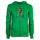 ENZA Ladies Kelly Green Fleece Full Zip Hoodie-Official Logo