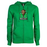 ENZA Ladies Kelly Green Fleece Full Zip Hoodie-Official Logo