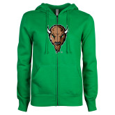 ENZA Ladies Kelly Green Fleece Full Zip Hoodie-Mascot Head