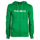 ENZA Ladies Kelly Green Fleece Full Zip Hoodie-The Herd