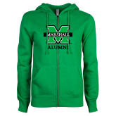 ENZA Ladies Kelly Green Fleece Full Zip Hoodie-Alumni