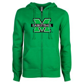 ENZA Ladies Kelly Green Fleece Full Zip Hoodie-Basketball