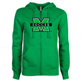 ENZA Ladies Kelly Green Fleece Full Zip Hoodie-Soccer