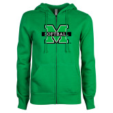 ENZA Ladies Kelly Green Fleece Full Zip Hoodie-Softball
