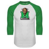 White/Kelly Green Raglan Baseball T Shirt-Official Logo