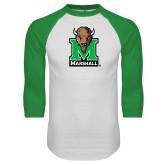White/Kelly Green Raglan Baseball T Shirt-Official Logo