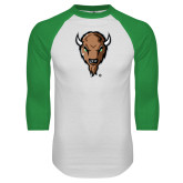 White/Kelly Green Raglan Baseball T Shirt-Mascot Head