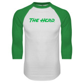 White/Kelly Green Raglan Baseball T Shirt-The Herd
