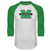 White/Kelly Green Raglan Baseball T Shirt-M Marshall Distressed
