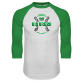 White/Kelly Green Raglan Baseball T Shirt-Baseball Ball Design