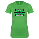 Next Level Ladies SoftStyle Junior Fitted Kelly Green Tee-Baseball