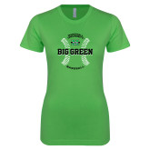 Next Level Ladies SoftStyle Junior Fitted Kelly Green Tee-Baseball Ball Design