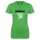 Next Level Ladies SoftStyle Junior Fitted Kelly Green Tee-Basketball Net Design