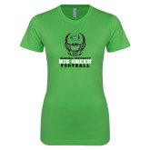 Next Level Ladies SoftStyle Junior Fitted Kelly Green Tee-Football Helmet Design