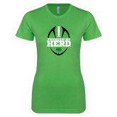 Next Level Ladies SoftStyle Junior Fitted Kelly Green Tee-Football Vertical Design
