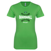 Next Level Ladies SoftStyle Junior Fitted Kelly Green Tee-Softball Ball Design