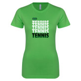 Next Level Ladies SoftStyle Junior Fitted Kelly Green Tee-Tennis Stacked Design