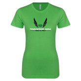 Next Level Ladies SoftStyle Junior Fitted Kelly Green Tee-Track and Field Wings Design